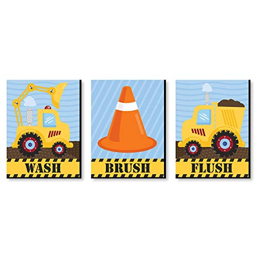 Big Dot of Happiness Construction Truck - Kids Bathroom Rules Wall Art - 7.5 x 10 inches - Set of 3 Signs - Wash, Brush, Flush