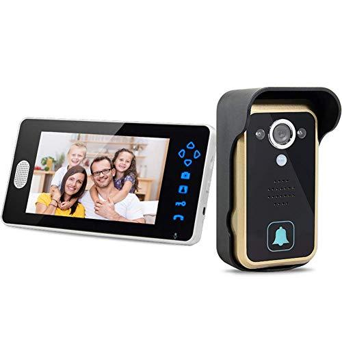 Timbre de videoportero inalámbrico de 7 pulgadas, sistema de seguridad inalámbrico inteligente de 2.4g, foto automática y alarma con función de visión nocturna Regalo anti-manipulación a prueba de l