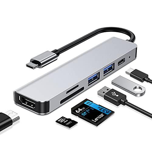 Hub USB C, 6 en 1 USB C Adaptador, USB C Concentrador con 4K HDMI, Puerto de Carga PD de 100W, 2 Puertos USB, Lector de Tarjetas SD/TF, Dongle Multipuerto para PC Laptop y Más Dispositivos Tipo C