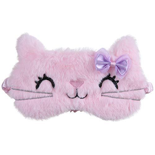 Damen Herren Augenmaske Schlafmaske,Plüsch Sleep Eye Masken Schlafbrille Augenblende Decke Schlafmaske Reise Schlafabdeckung Augenmaske Augenbinde (Pink)