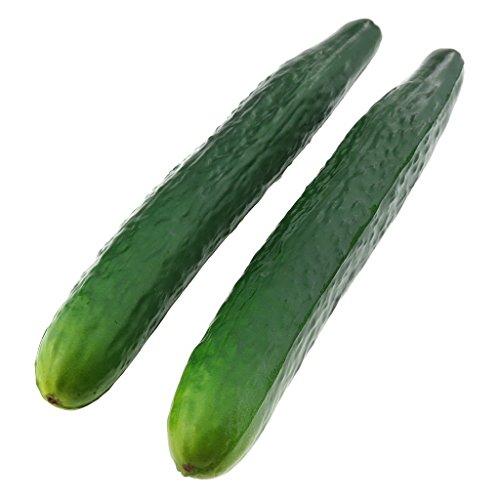 Gresorth 2 Stück Weich PU Stoff Künstlich Lebensecht Grün Gurke Fälschung Gemüse Dekoration