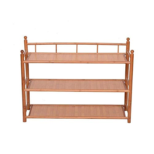 HYY-YY Zapatero de madera de 3 niveles para armario, baño, cocina, organizador de entrada, zapatero para ahorrar espacio (color: color de madera maciza, tamaño: 67 x 39 x 53 cm)