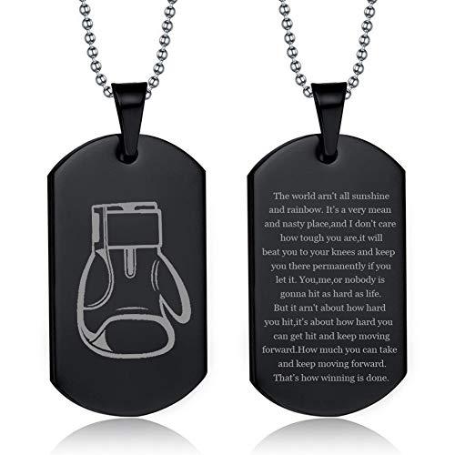 NineJewelry Personalisierte Boxhandschuhe Halskette - Edelstahl Sentiment Inspirierend Gravierte Rocky Sports Anhänger Zitat Box Halsketten Fitness Geschenke für Sportliebhaber,Boxer Fan