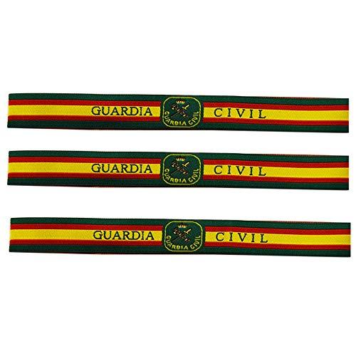 ALBERO 3 x Pulsera de tela Guardia Civil de España. Verde, rojo y gualda. 32 x 1,50cm. Fuerzas y Cuerpos de Seguridad del Estado. Nuevo Diseño