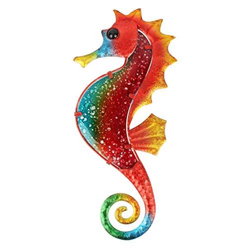 HONGLAND Escultura de Metal con diseño de Caballito de mar para decoración de Pared en Interiores y Exteriores, decoración para el hogar, jardín, recámara