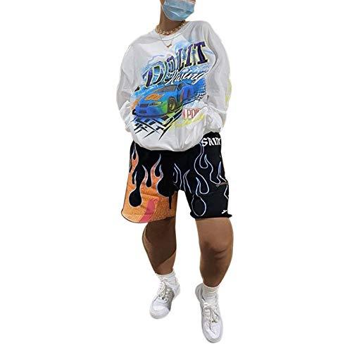 Carolilly Sudadera de cuello redondo de mujer con bolsillo de manga larga con impresión de letra casual, camiseta y blusa para niña, suéter de mujer grande Bianco-auto S