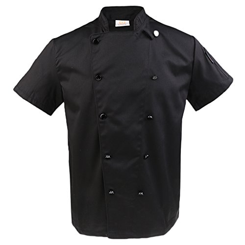 Bonarty Kochjacke Kochbekleidung Bäckerjacke Kurzarm Chefjacke Küche Arbeitsjacke Gastronomie Arbeitskleidung - Schwarz, L