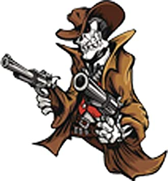 Amazon Com Retro Cowboy Wild West Bandit Skeleton Cartoon Vinyl Decal Sticker 4 Tall Arts Crafts Sewing