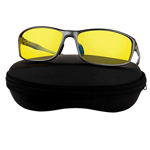 Aluminum Night Driving Glasses Anti Glare Polarized - Night Vision Glasses for Driving Biking Fishing | Yellow Tint Polarized Lens Night Glasses for...
