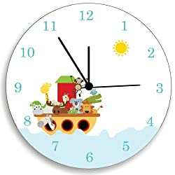 Noah's Ark, Nursery Wall Decor, Children Bedroom Wall Clock, Nursery Wall Art