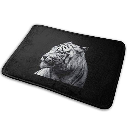 Super Cozy Throw Rug Area Rugs with Anti-Slip Backing Easy Clean (40cmx60cm) Suitable for Bedroom Living Room Front Door - Tiger Black and White
