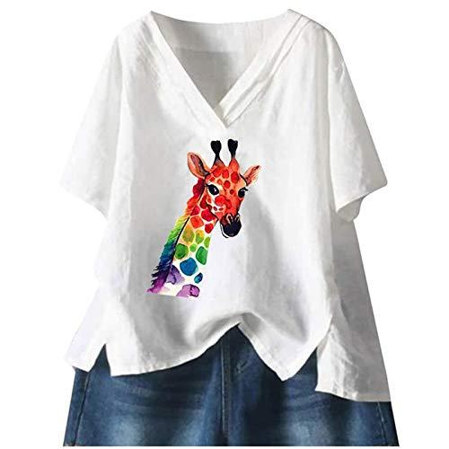 KEERADS - Camiseta de verano para mujer, parte superior informal, manga corta, cuello en V, camisa sólida, túnica para mujer, niña, té, tiempo libre, cómoda, de lino Blanco-c M