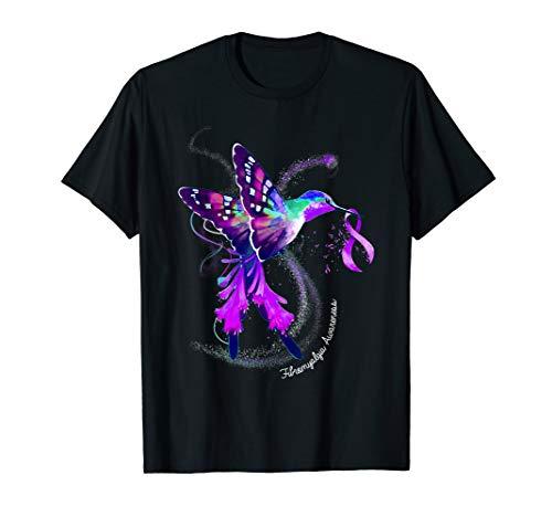 Hummingbird Holding Purple Ribbon Fibromyalgia Awareness T-Shirt