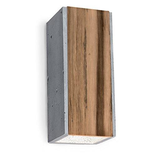 Design Wandleuchte Beton mit Teakholz-Einlage inkl. 2 x LED GU10 6W warmweiß - Innenleuchte Up & Down aus Natur-Materialien