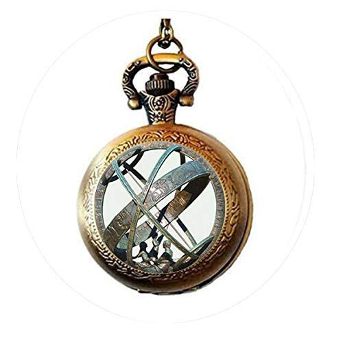 BAB Tronomische Sonnenuhr Globe Anhänger Astronomie Taschenuhr Halskette
