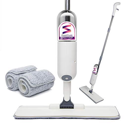 ShantiTrade Mocio a Spruzzo Lavapavimenti Spray Mop Pavimenti con Flacone Spazzolone in Microfibra + 2 Tamponi in Omaggio Spruzzatore d'Acqua Resistente Pulizia Casa Pavimenti