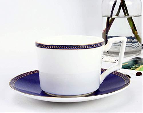 HYOUH Taza de café y platilloJuego de Tazas de café, Porcelana de Hueso, Juego de té de la Tarde Inglesa, Taza de cerámica, 201-300 ml con Disco de Taza de Arco de Triunfo Blanco