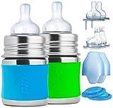 Pura Baby-Babyflaschen aus Edelstahl (Silikondüsen mit mittlerem Durchfluss, Schnelldurchflussdüsen, Einspritzdüsen, Dichtungsscheiben und -hülsen (2er-Pack) Wassergrün 5 Unzen / 150 ml S