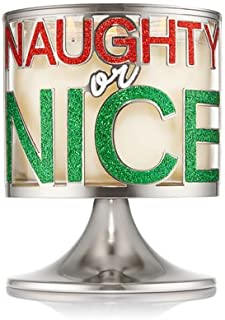 Bath and Body Works White Barn Pedestal 3 Wick Candle Sleeve Holder Naughty or Nice Silver Green Red