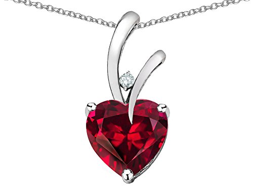 Star K Heart Shape 8mm Created Ruby Endless Love Pendant Necklace 10 kt White Gold