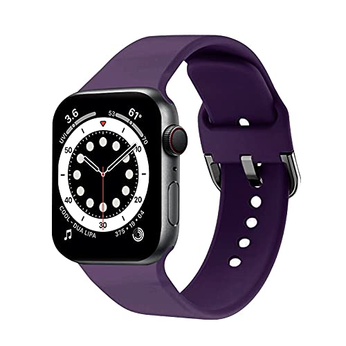Voshion Correa de silicona compatible con Apple Watch Band 40 mm 44 mm iWatch Band 38 mm 42 mm pulsera de silicona Apple Watch serie 6 5/4/3/SE (42 mm o 44 mm SM, 20 - morado oscuro)