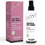 PETUCHI Champú Seco para Perros; Spray Bio con Aloe Vera y Leche de Avena; Aroma a Talco Fresco; No Necesita Aclarado; 250ml