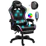 ERSHY Gaming Stühle LED-Leuchten Racing Computer Stuhl Ergonomischer Büro-Massagestuhl Mit Lordosenstütze Und Versenkbarer Fußstützenverstellung Der Rückenlehne, Bluetooth-Lautsprecher,Schwarz