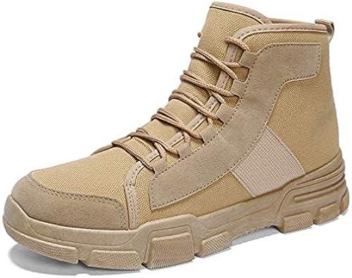 YAN Herrenschuhe Fallen Winter Martin Stiefelmode High-Top-Casual-Schuhe Werkzeug Stiefel Outdoor-Wanderschuhe Wanderschuhe SchwarzBeige,Beige,43