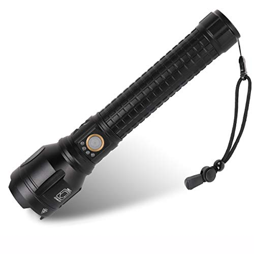 Rechargeable Led Flashlight, 90000 Lumens Super Bright Flashlights High Lumens with 26650 Batteries Included, 3 Modes, Zoomable, Waterproof Best Tactical Flashlight for Emergencies, Camping