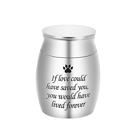 Small Cremation Urn for Pet Ashes Mini Pet Paw Keepsake Urn Stainless Steel Memorial Keepsake Urns for Dogs Cats Ashes Holder-If Love Could Have Saved You, You Would Have Lived Forever