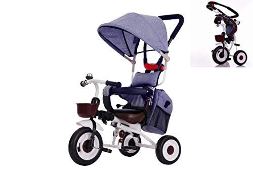 三輪車子供用折りたたみ 4 in Tricycle 乗用玩具 乗り物 子供乗せ1-6歳 持ち運び便利 バッグ付 かじとり サンシェード シートベルト 安全ガード 後輪ロック 足置き 押し手ハンドルkiki (青色)