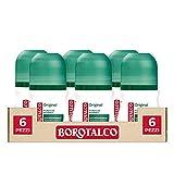 Borotalco, Desodorante Roll-On original con microtalco, absorbe el sudor, sin alcohol, 6 botes de 50 ml