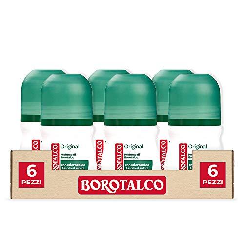 Borotalco, Deodorante Roll-On Original con Microtalco, Assorbe il Sudore, Senza Alcool, Pelle Morbida e Idratata, Profumo Fresco e Agrumato, Deodorante Uomo e Donna - 6 Flaconi da 50 ml