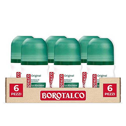 Borotalco, Desodorante Roll-On original con microtalco, absorbe el sudor, sin alcohol, 6 botes de 50 ml