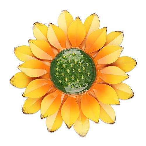 YiYa 33CM Decoración de Pared de Flores de Metal Múltiples Capas Arte de Pared de Flores Decoraciones de Arte de Pared Colgante para balcón Patio Porche Dormitorio Sala de Estar Jardín (Rojo Naranja)