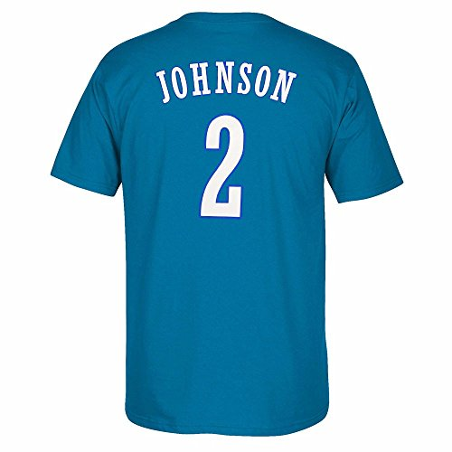 adidas Larry Johnson Charlotte Hornets NBA Men Blue Originals Player Name & Number Retro Jersey T-Shirt (XL)