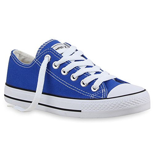 stiefelparadies Damen Sneakers Turn Freizeit Low Sneaker Übergrößen Prints Glitzer Denim Schuhe 24760 Blau Ambler 38 Flandell