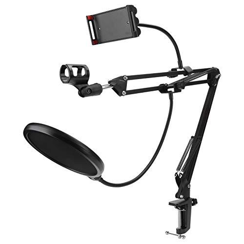Großer Bewegungsbereich Mikrofonarmständerhalter Einfach zu bedienende Desktop-Mikrofonhalterung 2 kg Gewicht tragendes flexibles Bügeleisen für Mikrofon