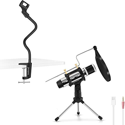 ZealSound k08-u USB 3.5MM Microphone Silver with Gooseneck Microphone Stand
