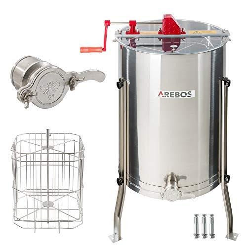 Arebos Premium Manuelle Honigschleuder 4 Waben Rahmen Extraktor Edelstahl