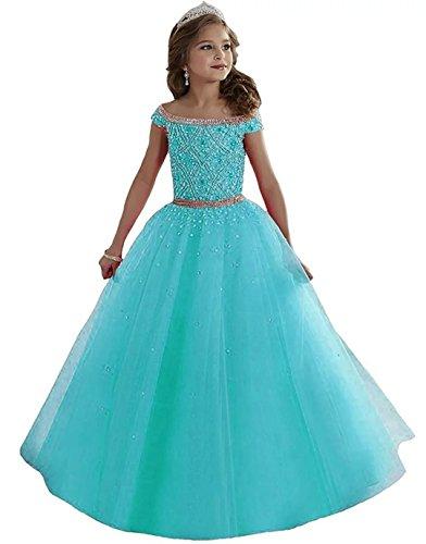 Carnivalprom Mädchen Perlen Blumenmädchen Kleider Bodenlanges Kinderkleid Erste Kommunikation Kleider Ballkleid Partyskleid(Blau,7-8 Jahre)