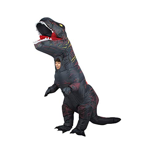 DEJUHUI Disfraz inflable de dinosaurio para adulto T-Rex Fancy Dress de Navidad para disfraz inflable de Halloween (negro, M)