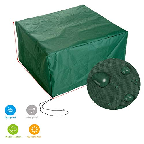 GDMING Rattan Furniture Covers Waterproof Outdoor Cube Garden Furniture Protective Cover Balcony Loveseat Sofa Table And Chair Oxford Fabric, Customizable Size (Color : Green, Size : 200×140×90cm)
