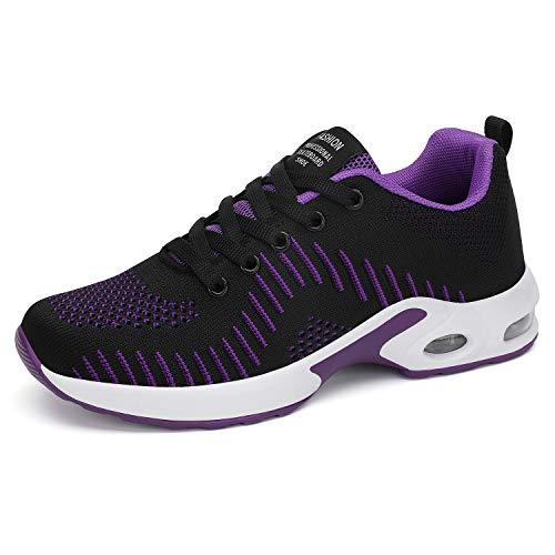 Dannto Zapatos Deporte Mujer Zapatillas Deportivas Correr Gimnasio Casual Zapatos para Caminar Mesh Running Transpirable Aumentar Más Altos Sneakers (Morado-Negro-B,43)