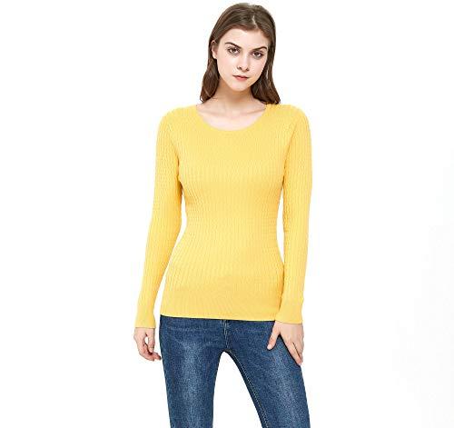 ZLUXURQ Suéter Amarillo Brillante de Manga Larga con Cuello Redondo para Mujer, Corte Ajustado, cómodo y cálido