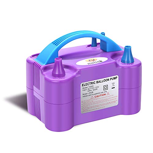 NuLink Electric Portable Dual Nozzle Balloon Blower Pump Inflation for Decoration, Party, Sport [110V~120V, 600W, Purple]