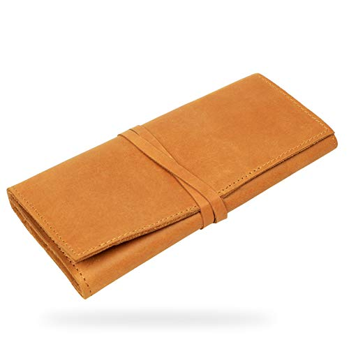 Genuine Leather Pencil Roll, Pen and Pencil case, Roll Wrap Bag Pouch for Stationery (Tan) - by Vimoksha