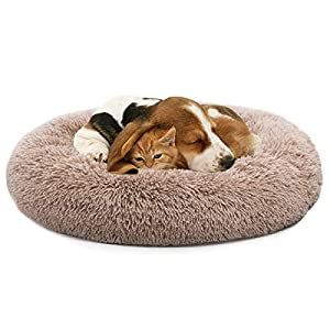 "MIXJOY Orthopedic Dog Bed Comfortable Donut Cuddler Round Dog Bed Ultra Soft Washable Dog and Cat Cushion Bed (36"" x 36"") (Brown)"