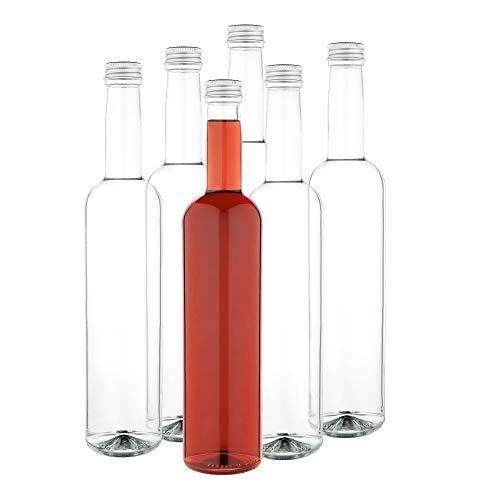 MamboCat 6-delige set glazen fles Pinta 500 ml + schroefdop zilver I vullen van azijn & olie, siroop, most, bier, sap + wijn I grote likeurflessen rond