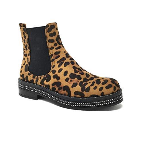 Angkorly - Damen Schuhe Stiefeletten - Chelsea Boots - Biker - Glam Rock - Strass - Leopardenmuster Blockabsatz 4 cm - Leopard B8965-1 T 39